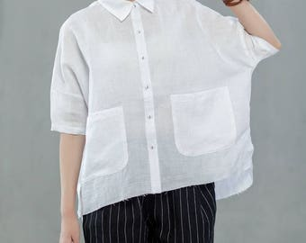 Women Simple Linen Shirt Casual Tops Summer Blouse Plus Size Tops With Front Pockets