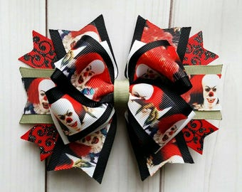 Pennywise Hair Bow/Pennywise Hair Clip/Stephen Kings It Hair Bow/IT Hair Bow/Halloween Hair Bow/Horror Movie Hair Bow/Scary Movie Hair Bow