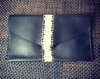 Black cow leather pouch