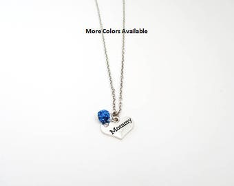 Mommy Pave Crystal Rhinestone Charm Necklace-Capri Blue Necklace-Mommy jewelry-Mommy gift-Mommy necklace-Mommy birthday gift-Mommy, N1398