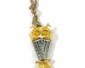 Vintage Owl Pendant, Vintage Owl,  Vintage Jewelry, Owls, Gold Silver Owl, Beaded Eyes Owl Pendant, Vintage Owl Necklace