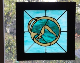 Original Yoga Downward Facing Dog stained glass panel