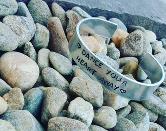 thick silver dance your heart away bracelet