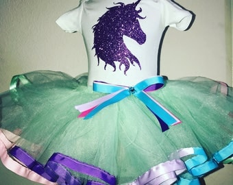 Unicorn Multiple color ribbon trimmed tutu