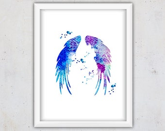 Blue Nursery Wall Art, Printable Art, Watercolor Angel Wings Print, Instant Download Nursery Print, Digital Watercolor Print, Teen Art Print