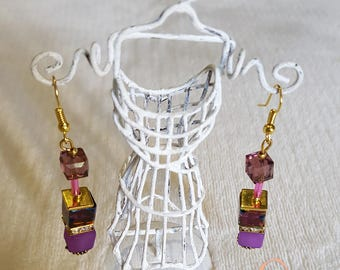 Dangling earrings beads polaris mauve and gold
