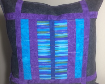 Quilted Pillow Cover, Colorful Pillow Cover, Decorative Pillow Cover, Home Decor Modern Blue purple Pillow Cover