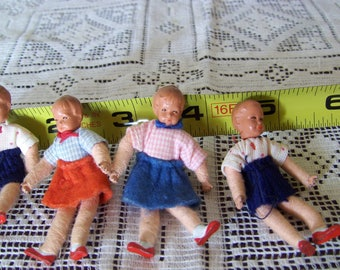 2.25 inch wire dolls, 1930's miniature dollhouse figurines