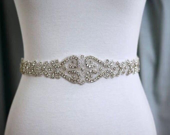 Art deco Bridal Belt, Bridal Sash, Wedding Belt, Wedding Sash Rhinestone and Pearl Sash