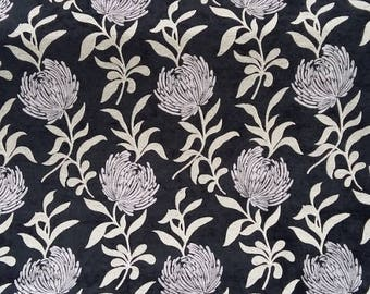 Dahlia fabric - Fabric black and Grey - Velvet Chenille fabric - fabric flowers - upholstery fabric - Robert fabrics - 1/2 meter