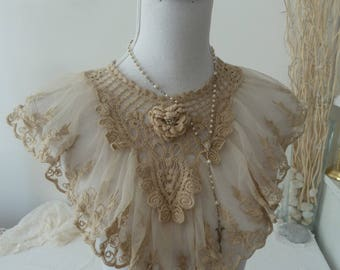 Jabot collar Plastron bib tulle of lace beads Edwardian style vintage gift decoration tie tulle lace