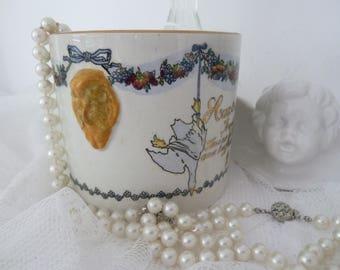 Antique French pot porcelain container shell 19.Jhrdt. Edwardian style foie gras August Michel Strasbourg Terrine de fois