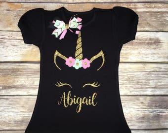 Unicorn Shirt   Unicorn Birthday   Toddler Outfit   Matching Bow
