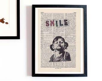 Print - BANKSY - SMILE - antique book page