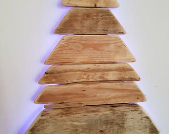 Handmade Driftwood Christmas Tree Light with Remote Control - crafted from locally sourced driftwood here in Cornwall