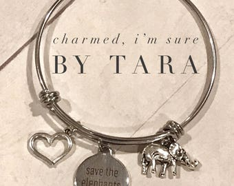 Save the elephants / bangle charm bracelet