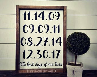 The best days of our lives, family date sign, framed wood sign, important dates sign, gallery wall sign,  Mothers day personalized gift
