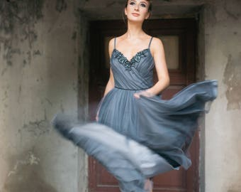 Evening lace dress - Moonlight - unique wedding gown. Bridal gown. Bohemian wedding dress. Bridesmaid dress. Fairy wedding dress