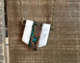 Natural Stone Pendant Long Necklace