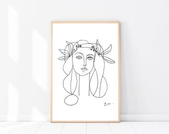 Picasso Art PRINT, Head Of A Women, Modern Minimalist, Sketch, Picasso Poster, Wall Art, Figurative Drawing