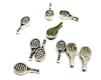Tiny Tennis Racket Floating Charms - Pack of Ten - H696