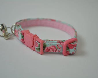 Valentine cat collar kitten collar 'Mint Rose' fancy cotton collar for cat & kitten - Cute cat collar - Cat collar breakaway