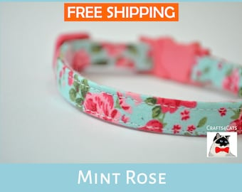 'Mint Rose' fancy floral cotton collar for cats & kittens with your choice of bells colour and type buckles e.g. non breakaway