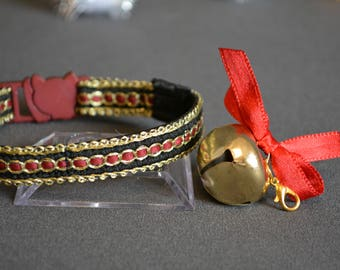 Luxury Christmas cat  collar - cat collars with jingle bells - breakaway cat collar - boy  cat collar  - golden cat collar - girl cat collar