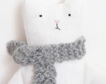 Plush toy- Stuffed cat with knitted scarf- Soft cat toy-  Cat doll-  Plush Christmas gift  -Fabric cat toy  -Toy for children