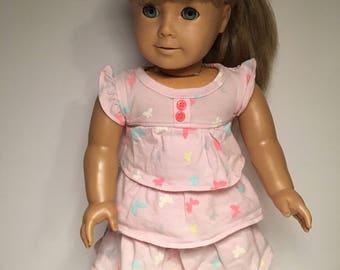 18 inch doll dress Pretty pink ruffled dress