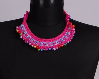 CLEARANCE SALE Knitted Jewelry set,Crochet necklace,Beaded earrings,Any occasion necklace,One of a kind,One Only,Unique Necklaces for Women,