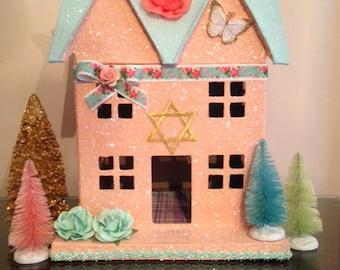 Passover, Passover Decor, Passover Decoration, Passover Glitter House, Glitter House, Putz House, Jewish Holiday Decor, Star of David