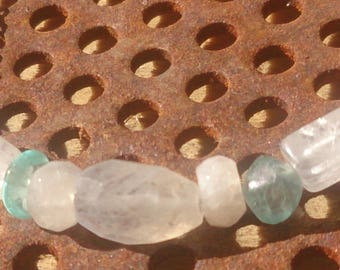 Silver plated Apatite and Moonstone necklace