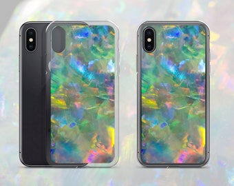 Australian Opal Gemstone Pattern Phone Case, Mineral Rock Print, Stone Art gift, iPhone X/7/8P, 7/8, 6/6sP, 6/6s, Galaxy S7/S7 Edge, S8, S8+