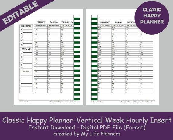 CLASSIC Happy Planner Vertical Week Hourly Insert Editable