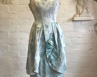 UNIQUE 50's Silvery Blue Floral Satin Brocade Bombshell Old Hollywood Embroidered Gown, Bridesmaid Dress, Prom, Size M