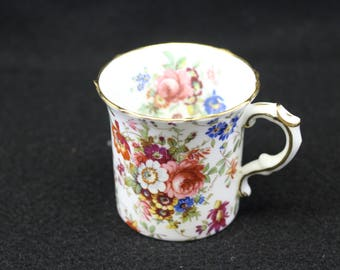 Vintage Demitasse Tea Cup by Hammersley and Co Fine Bone China  England   Floral print   Hallmarked   Numbered no saucer  Espresso   Vintage