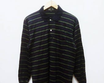 Hot Sale!!! Rare Vintage 90s DUNHILL Striped Long Sleeve Polo Shirt Hip Hop Skate Swag Made In Italy Medium (42) Size