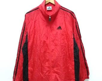 Hot Sale!!! Rare Vintage 90s ADIDAS Embroidery Logo Windbreaker Hoodie Jacket Hip Hop Skate Swag Large Size