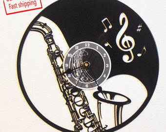 Music/Saxaphone themed Vinyl Album Record Clock made in the > USA < with FREE Shipping!
