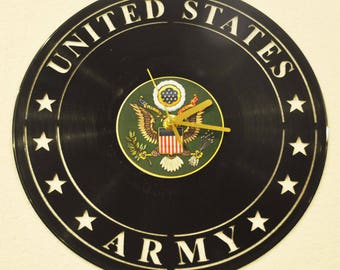 Army inspired vinyl record clock **FREE SHIPPING**