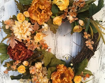 A Beautiful Spring, Summer or Fall Yellow Saffron Door Wreath, Year Round Wreath, Wall Wreath, Fireplace Wreath, Grapevine Wreath