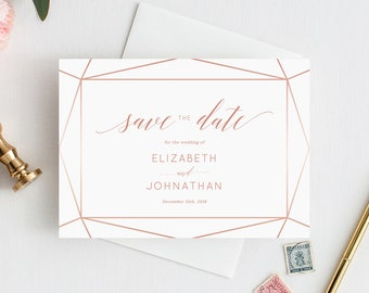 INSTANT DOWNLOAD Save the Date Template, Save the Date Printable, Save the Date Cards, Rose Gold, Blush, Bronze, Copper, Templett, W08