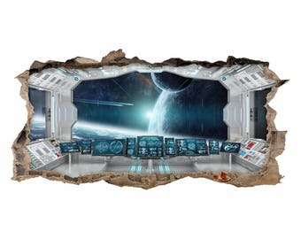 069 wall decals spaceship white - hole in the wall