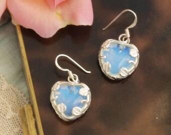 Vintage silver opaline glass earrings