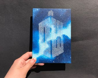 """DW"" TARDIS - Mini Canvas Inspired by Doctor Who"