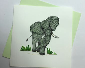 Elephant Quilling Greeting Card