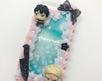 AoT whip border glitter fall decoden case for iphone 7/8 plus