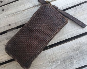 Dark Brown Italian Leather Microwoven Wallet