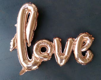 102cm/40' Width Foil Love Balloon Pink, Rose Gold - Au Free Shipping